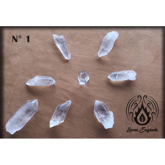 Set Reiki Cuarzo Cristal Puntas - Llama Sagrada