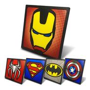 Kit 5 Quadros Mdf Relevo Super Herois 20x20cm - Marvel Dc