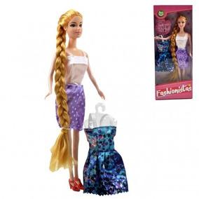 Boneca Tipo Barbie Rapunzel Fashionistas Com Acessórios