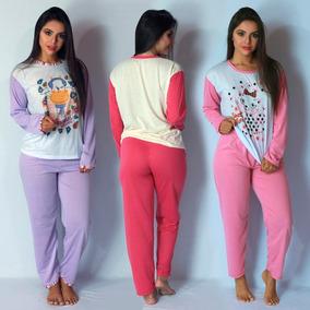 Kit 4 Pijama Longo Malha Manga Comprida Inverno Feminino