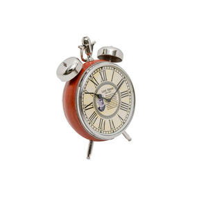 Relógio Couro Natural Detalhe Cromado Alta Decoração