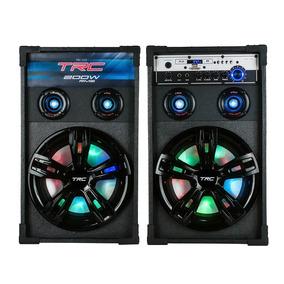 Caixa Acústica Dupla Trc 339 Bluetooth Amplificada 200w Led