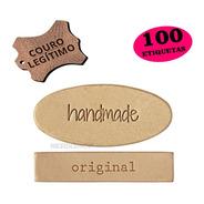 100 Etiquetas Personalizadas Couro 3x3cm Redonda Retangular