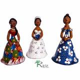 Trio De Bonecas De Cerâmica Dondocas Com Noiva Lindas - B
