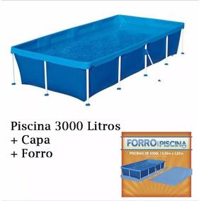Piscina Infantil Retangular 3000 Litros + Capa + Forro - Mor