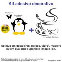 Adesivo Papel Parede Geladeira Pinguim Café Coffee Borboleta