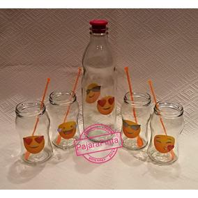 Set De Botella De Vidrio Y 4 Vasos Frasco Con Emojis