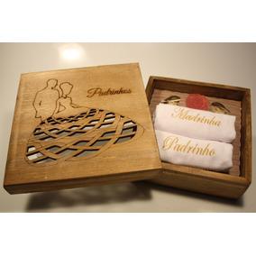 8 Caixa Madeira Padrinhos Com 2 Toalhas Bordada E Sabonete