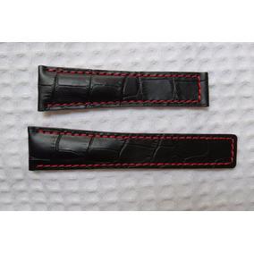 Pulseira Tag 22mm Com Couro Pemium C/ Costura Vermelha