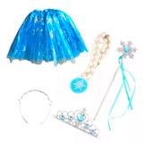 Set Frozen Elsa Tiara, Corona, Peluca(trenza) Cetro, Tutu