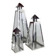 Conjunto Lanterna Inox Vidro| 58 Larg X 36 Alt X 58 Prof