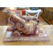 Escultura Ganesha Deitado Em Resina