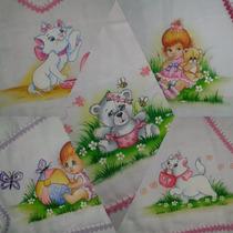 Fraldas Luxo Pintadas Com Croché Kit C/05 Peças Tecido Duplo