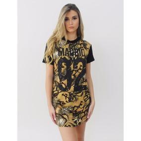Kit 3 Blusa Feminina T-shirt Vestido Long Camiseta Estampada