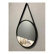 Espelho Redondo Decorativo Com Alça Adnet Preto 45cm Ø