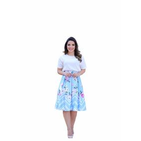 Saia Gode Midi Azul Larissa Frete-gratis