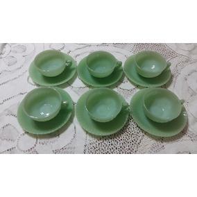 Rigopal Juego De 6 Tazas De Cafe Con Plato Verde Vintage