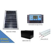 Panel Solar 10w Kit Sistema Aislado + Iluminación Led + 2usb