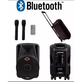 Caixa Amplificada De Som Ecopower S101 + 2 Microfones 600rms