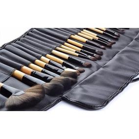 Kit Com 24 Pincéis De Maquiagem Profissionais Make Up Estojo