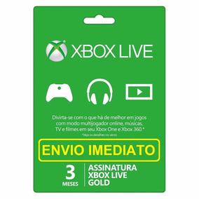 Xbox Live Gold 3 Meses Xbox 360 Xbox One Envio Imediato