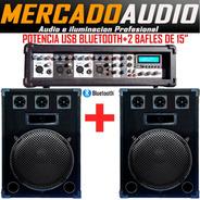 Combo Karaoke Potencia Usb Bluetooth+2 Bafles 15 Pulgadas