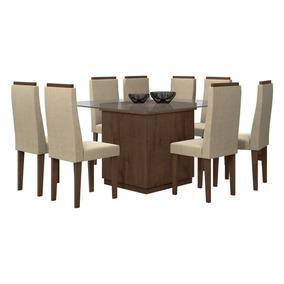 Conjunto De Mesa 1.30m Petra Com 8 Cadeiras Dafne Imbuia Sof