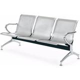 Cadeira Longarina Sala De Espera Metálica Cromada 3 Lugares