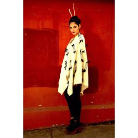 Poncho Telar Lana Oveja Mujer Moda Colorvegetal