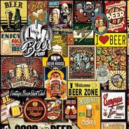 Papel De Parede Beer Cervejas Bebidas Vintage Retrô 310x58cm