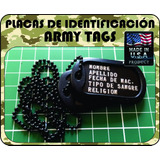 Placa Identificacion Militar Army Tags Color Negro