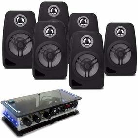 Kit Som Ambiente Bt + 6 Caixa Acustica Amplificador Estereo