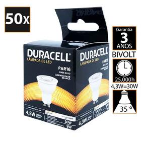 Kit Com 50 Lâmpada De Led Duracell Dicroica Branca 4.3w - D