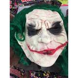 Máscara Látex Guasón Jocker Con Pelo Verde 100% Látex