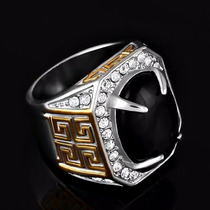 Anel Masculina Pedra Preta Natural Ouro 18 Banhado