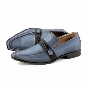 Sapato Casual Masculino Bico Fino Jeans Azul Couro Perlatto
