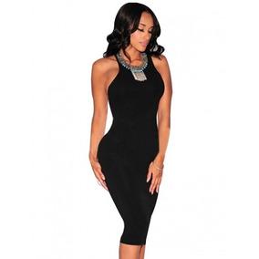 Vestido Mujer Negro Midi Sexy Antro Club Fiesta Noche Casual