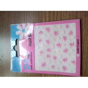 Adesivos Para Unha Borboleta E Flor Rosa E Branco Japão