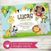 Kit Imprimible Jungla Selva Animalitos Candy Bar Primer Año