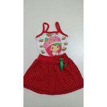 Vestido Infantil Moranguinho - Temático Fantasia