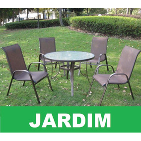Mesa Redonda 4 Cadeiras Marrom, Jardim, Lazer, Área Externa