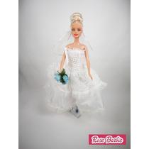 Vestido Noiva Casamento E Gala P/ Boneca Barbie + Acessórios