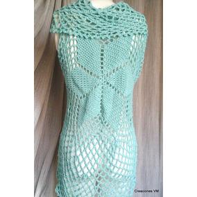 Chaleco Largo Circular Tejido A Crochet. Creaciones V M.