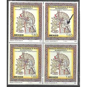 1982 Block 4 Personajes Prehispánicos Punto Rojo 1.60 Mnh