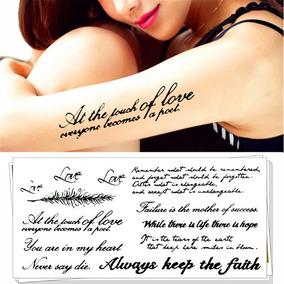 Tatuagem Temporária 3d Cartela Grande Frases Nomes Pena Love