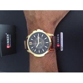 Relógio Pulseira Couro Importado Dourado Marrom Esporte Fino