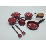 Keia Juego De Cocina Color Rojo A Lunares De 10 Piezas 1/12