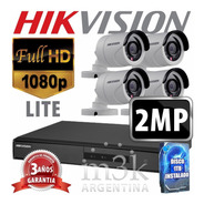 Kit Seguridad Hikvision Full Hd Dvr 8 + Disco 1 Tb Instalado + 4 Camaras 2mp 1080p Exterior Infrarrojas Domos + Ip M3k