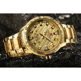 Relógio Masculino Naviforce Dourado Importado Luxo Nf9090