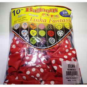 Balão Decorado Pic Pic - Poa Vermelho Com Bolinha Branca